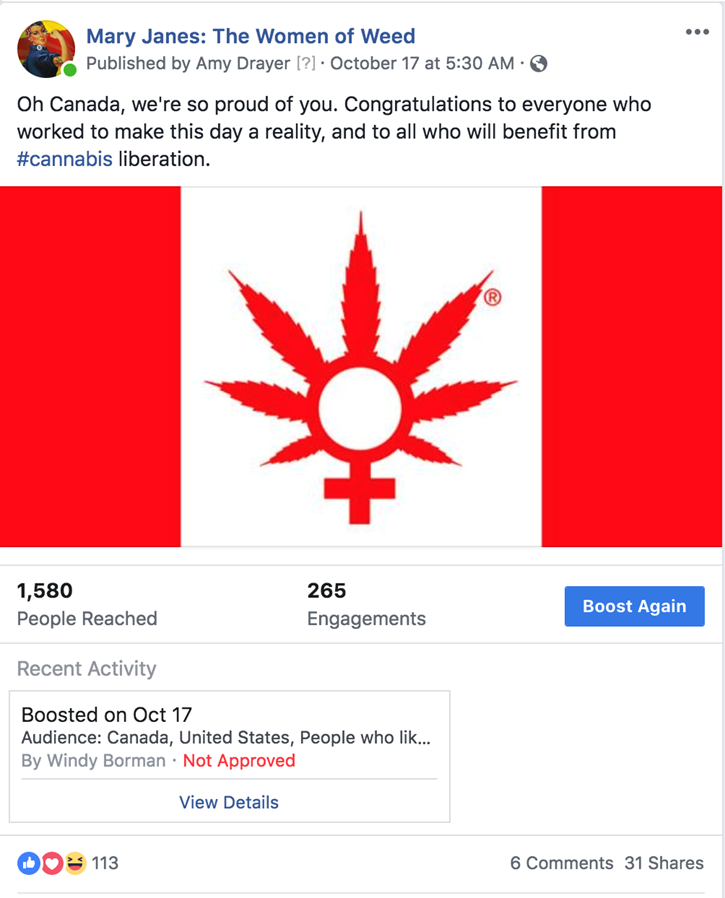 facebook bans cannabis film ads